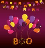 Halloween Carnival with flags Garlands with balloons on them. Hang the letters boo. Vector. Greeting card or invitation for a holiday. Empty place for text or Stock Photo