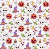 Halloween carnival seamless pattern background vector illustration with pumpkin and ghost spooky october autumn fear Stock Image