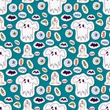 Halloween carnival seamless pattern background vector illustration with pumpkin and ghost spooky october autumn fear Royalty Free Stock Photos