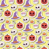 Halloween carnival seamless pattern background vector illustration with pumpkin and ghost spooky october autumn fear. Creepy traditional sign. Celebration vector illustration