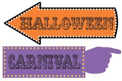 Halloween carnival sign template stock image