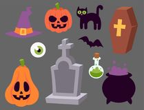 Halloween carnival symbols icons vector illustration with pumpkin and ghost spooky october autumn fear creepy Stock Images