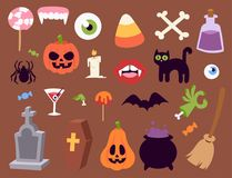 Halloween carnival symbols icons vector illustration with pumpkin and ghost spooky october autumn fear creepy. Traditional sign. Celebration creepy traditional stock illustration