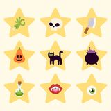 Halloween carnival symbols icons vector illustration with pumpkin and ghost spooky october autumn fear creepy Royalty Free Stock Photos