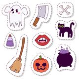 Halloween carnival symbols patchwork vector illustration with pumpkin and ghost spooky october autumn fear creepy Royalty Free Stock Photos