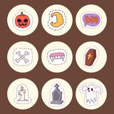 Halloween carnival symbols patchwork vector illustration with pumpkin and ghost spooky october autumn fear creepy Stock Image
