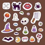 Halloween carnival symbols patchwork vector illustration with pumpkin and ghost spooky october autumn fear creepy Royalty Free Stock Image