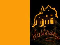 Halloween - carte de voeux, des vacances avec des toiles d'araignée Image stock