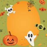 Halloween cartoon art in flat style. Orange background, frame with cute ghost, pumpkin, eye, bone, skull, sweet for text Stock Photos
