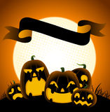 Halloween cartoon banner with pumpkins Royalty Free Stock Photo