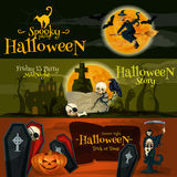 Halloween cartoon banner with text and characters. Halloween vector cartoon banner with text and characters. Spooky Halloween Party, Friday 13 midnight story Royalty Free Stock Photo