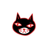 Halloween cartoon. Black cat with red eyes, witches and witchcraft symbol. Halloween clip-art. Hand drawn sketchy icon, design element for halloween party Stock Photography