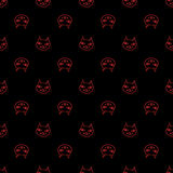 Halloween cartoon. Black cat with red eyes, witches and witchcraft symbol. Halloween seamless pattern Royalty Free Stock Photography
