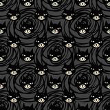 Halloween cartoon. Black cat with red eyes, witches and witchcraft symbol. Halloween seamless pattern Stock Photography