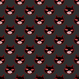 Halloween cartoon. Black cat with red eyes, witches and witchcraft symbol. Halloween seamless pattern Royalty Free Stock Photos