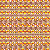 Halloween cartoon. Candy corn on brown with abstract ornament. Halloween vector seamless pattern. Hand drawn sketchy tileable background, design element for Royalty Free Stock Image