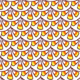 Halloween cartoon. Candy corn on small dish. Halloween seamless pattern. Hand drawn sketchy tileable background, design element for halloween party invitation Royalty Free Stock Photo