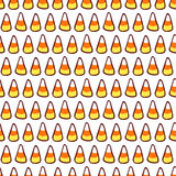 Halloween cartoon. Candy corn on white. Halloween vector seamless pattern. Hand drawn sketchy tileable background, design element for halloween party invitation Stock Photos
