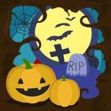 Halloween cartoon card vector illustration Stock Photos