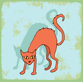 Halloween cartoon cat illustration, vector icon. Royalty Free Stock Image