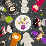 Halloween cartoon characters against a starry night sky. Children in halloween costume stand in a circle against a big moon. With greeting. Vector illustration royalty free illustration