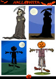 Halloween Cartoon Creepy Themes Set Royalty Free Stock Photo