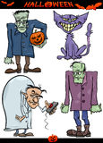 Halloween Cartoon Creepy Themes Set Stock Image