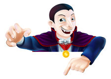 Halloween Cartoon Dracula Pointing Royalty Free Stock Image