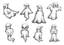 Halloween cartoon eerie white ghosts stock illustration