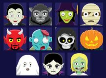 Halloween Cartoon faces Avatar Vector Illustration Royalty Free Stock Images