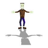 Halloween cartoon Frankenstein monster character standing with shadow Stock Photo
