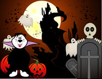 Halloween cartoon ghost vector. In a night background Stock Images