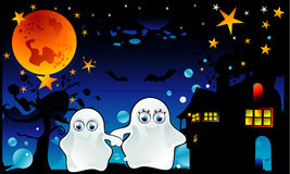 Halloween cartoon ghost vector. In a night background Royalty Free Stock Photography