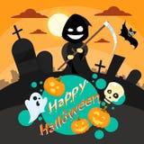 Halloween Cartoon Grim Reaper Smile Hold Scythe. Banner Cemetery Graveyard Party Invitation Card Flat Vector Illustration Royalty Free Stock Image