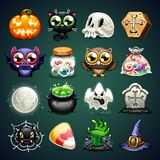 Halloween Cartoon Icons Set Stock Photo