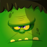 Halloween cartoon monster face. Square avatar  or icon of vector monster. Royalty Free Stock Photos