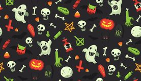 Halloween cartoon pattern. Bright cartoon Halloween pattern with traditional october holiday items. All elements can be used as isolated halloween decorations Royalty Free Stock Photos