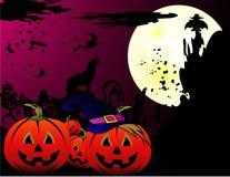 Halloween cartoon pumpkin. Vector in a night background Stock Photo