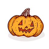 Halloween cartoon. Halloween pumpkin clip-art, isolated on white. Hand drawn sketchy icon of jack-o-lantern, design element for halloween party invitation card Royalty Free Stock Image