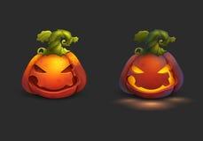 Halloween cartoon pumpkin and pumpkin lights  on dark background. Stock Image