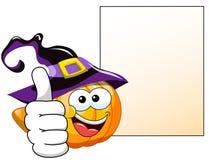 Halloween Cartoon pumpkin thumb up blank banner Stock Image