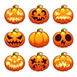 Halloween Cartoon Pumpkins Icons Set Royalty Free Stock Image