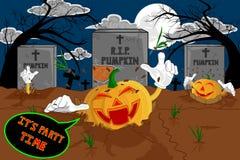 Halloween cartoon resurrect pumpkin for celebration of halloween. Royalty Free Stock Photos