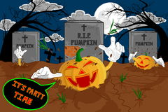 Halloween cartoon resurrect pumpkin for celebration of halloween. Stock Photo