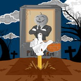 Halloween cartoon resurrect pumpkin. hand emerging from the graveyard. Royalty Free Stock Photo