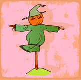halloween cartoon scarecrow  illustration, vector icon. Royalty Free Stock Photography