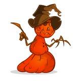 Halloween cartoon scarecrow with pumpkin head. Vector cartoon character isolated on white. Stock Photography