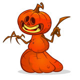 Halloween cartoon scarecrow with pumpkin head. Vector cartoon character isolated on white. Stock Images