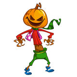 Halloween cartoon scarecrow with pumpkin head. Vector cartoon character isolated on white. Stock Photo