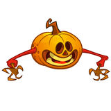Halloween cartoon scarecrow with pumpkin head. Vector cartoon character isolated on white. Royalty Free Stock Images